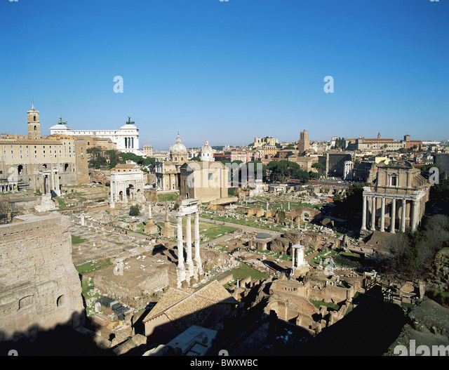 Ancient world antiquity forum Romanum Italy Europe Rome overview Roman - Stock-Bilder