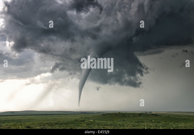 A perfectly needle-like cone tornado reaches out for the ground, Campo, Colorado, USA - Stock Image