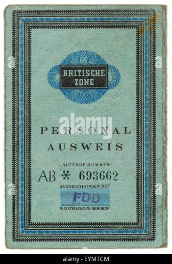 Old German passport, British Zone of Occupation,  c. 1945, Germany, Europe, - Stock Image