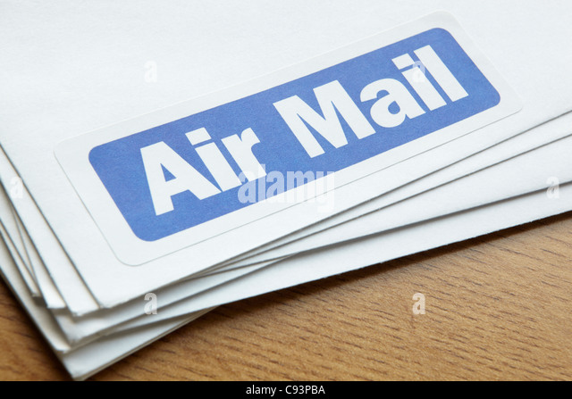 Air mail documents for despatch - Stock Image