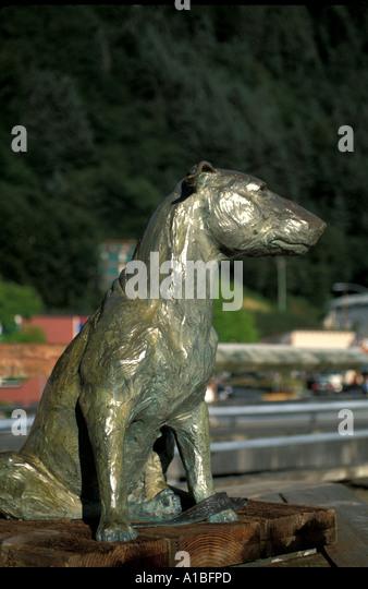 Alaska juneau bronze statue memorial Patsy Ann Dog - Stock Image