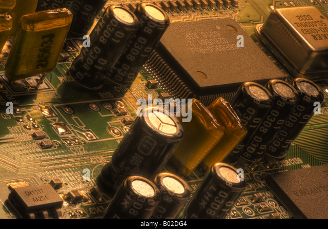 Circuits in extended focus closeup - Stock Image