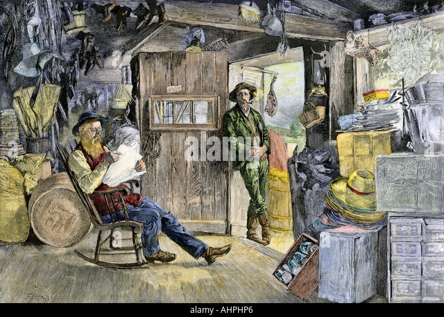 Village country store in the 1800s - Stock Image