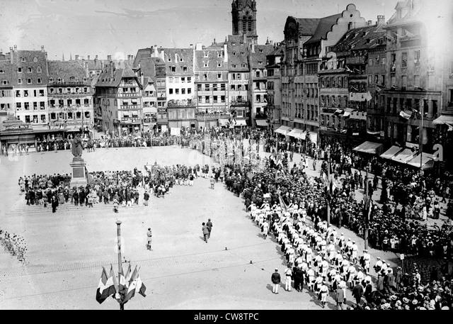 Gymnastics festival in Strasbourg companies' parade place Kléber - Stock Image