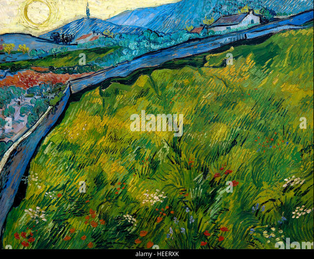 Enclosed Wheat Field with Rising Sun, by Vincent van Gogh, 1889, Kroller-Muller Museum, Hoge Veluwe National Park, - Stock Image