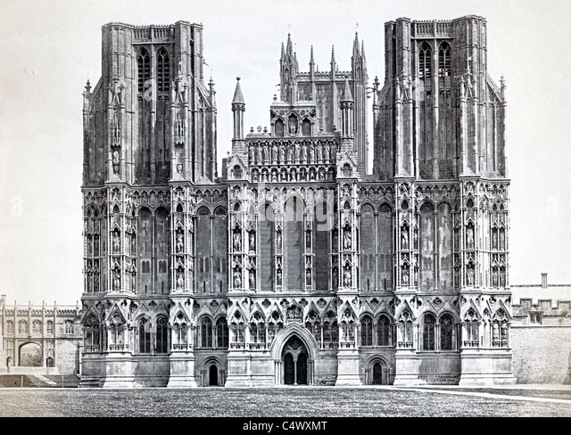 Wells Cathedral College Green Wells Somerset England UK historic photo about 1890 - Stock Image