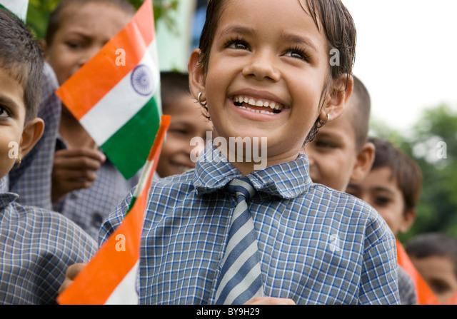 School girl celebrating Independence Day - Stock-Bilder