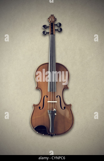 front view shot of a violin - Stock Image