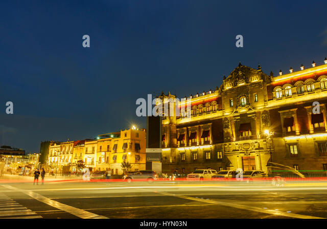 Night scene of the historical National Palace of Mexico City - Stock Image