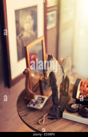 Close up of decorations on side table - Stock Image