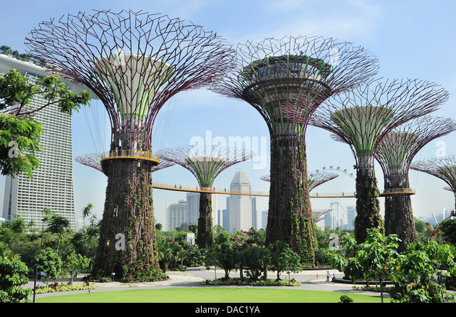 People walking on the bridge at Gardens by the Bay in the morning. - Stock Image