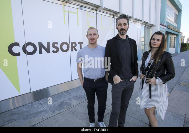 Los Angeles, California, USA. 23rd Nov, 2015. Left to right, Brandon Quattrone, Mat Sanders and Marie Goble cofounders - Stock Image
