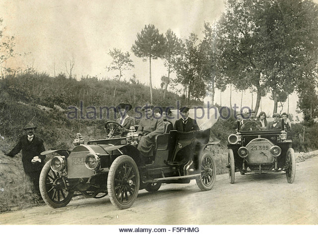 Two cars from the beginning of the twentieth century, Italy - Stock Image