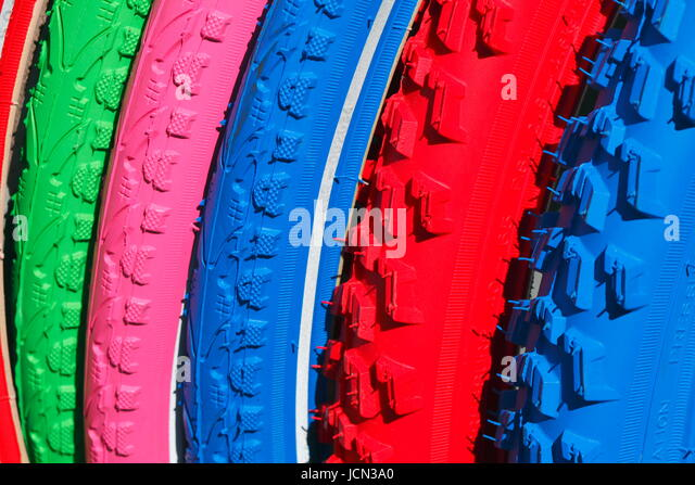 Colorful  Bicycle Tires, Rubber Profil, Germany, Europe - Stock-Bilder