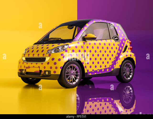 An artistically painted compact car - Stock-Bilder