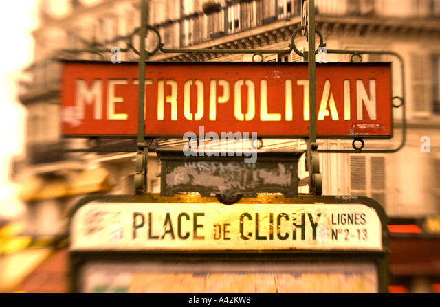 Paris France Metro station Montmatre Place de Clichy blurred - Stock Image