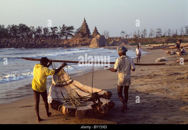 Fisherman and Beach Temple 7.ct., Mahabalipuram (Tamil Nadu), Indien, World-Heritage - Stock-Bilder