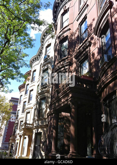 Brownstones and limestone classic architecture in Brooklyn, New York. - Stock Image