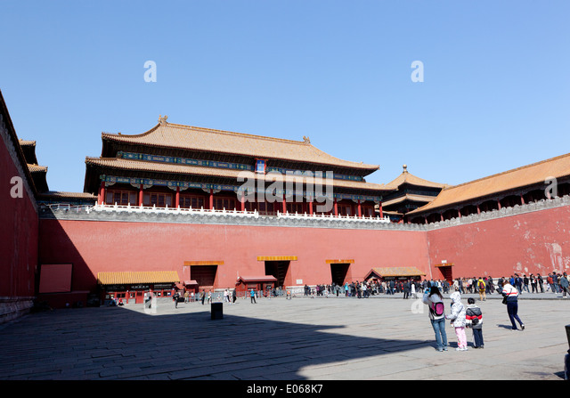 The Meridian Gate, (Wumen) the southern gate to the Forbidden City. - Stock-Bilder