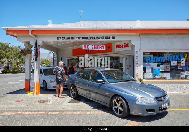 New Zealand oldest operating petrol station, Russell, North Island, New Zealand - Stock-Bilder