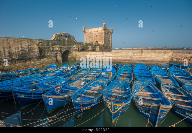 Fisherman boats in Essaouira port, Morocco - Stock Image