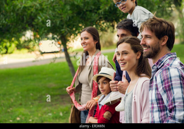 Family spending time together outdoors - Stock Image