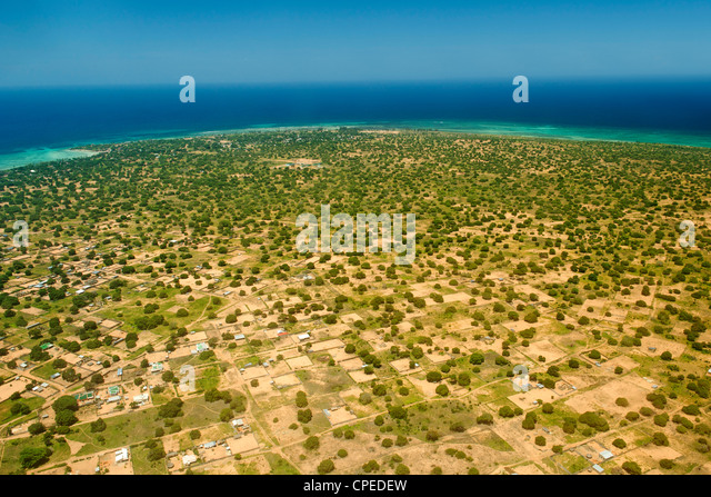 Aerial view of Pemba in northern Mozambique. - Stock-Bilder