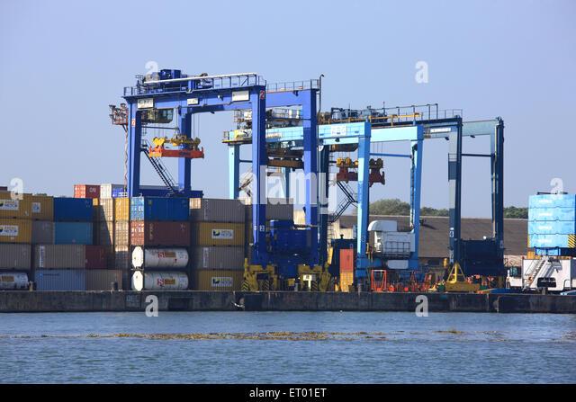 Containers handling yard ; Cochin Kochi harbour ; Kerala ; India - Stock Image