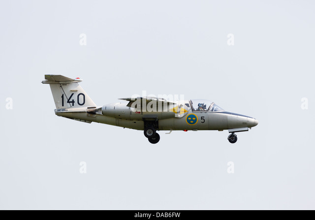 SAAB 105 SK60 of the Swedish Airforce Historic flight on approach to RAF Waddington Airshow 2013 - Stock Image