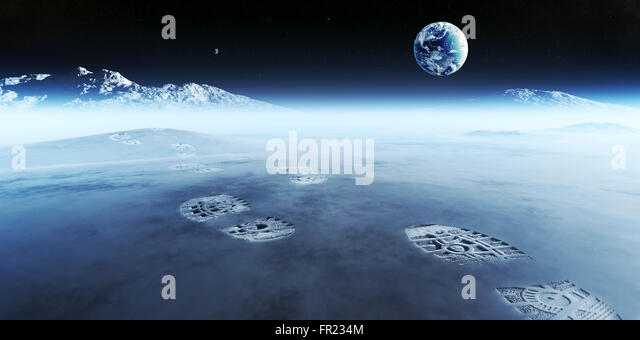 Conceptual artwork of mankind exploring space and alien planets. Footprints are the evidence left behind with the - Stock Image