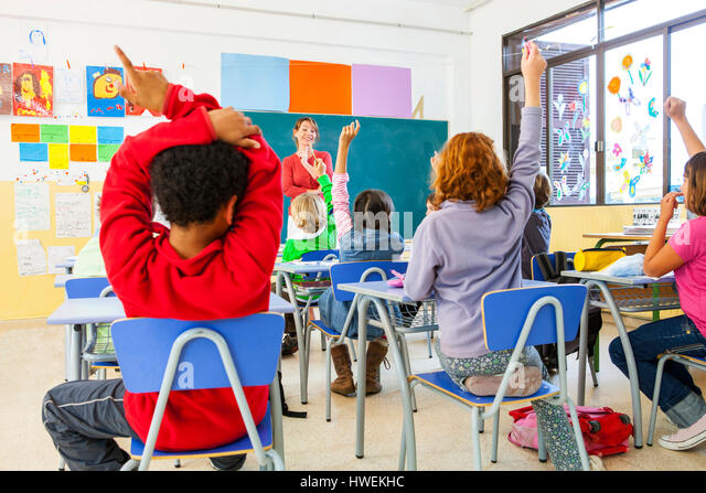 Rear view of primary schoolgirls and boys with hands raised in classroom - Stock-Bilder