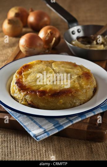 Welsh onion cake Potato and onion dish Wales Food UK - Stock Image