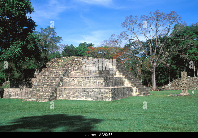 Honduras Copan Ruinas Temple 4 at the Great Plaza - Stock Image