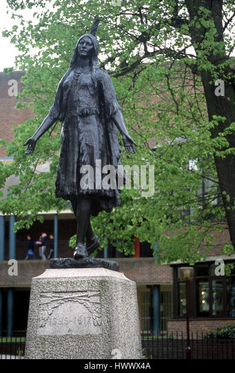 Pokohontas statue in Rochester - Stock Image