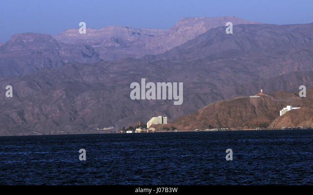 A view of Taba as seen from Aqaba, Jordan. - Stock Image