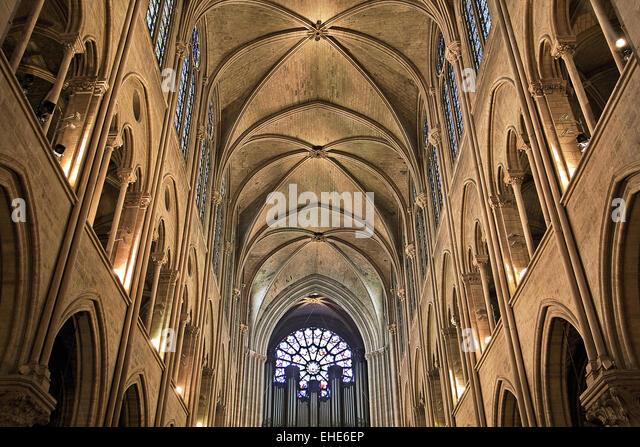 France paris cath dr le notre dame int rieur stock photos for Interieur 806