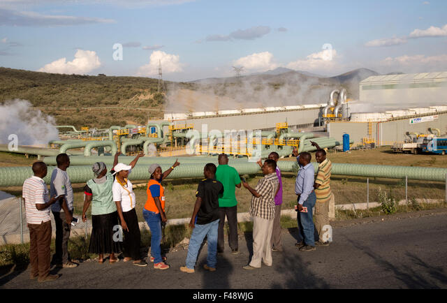 Olkaria 280MW geothermal energy plant Hell's Gate Rift Valley Kenya - Stock Image