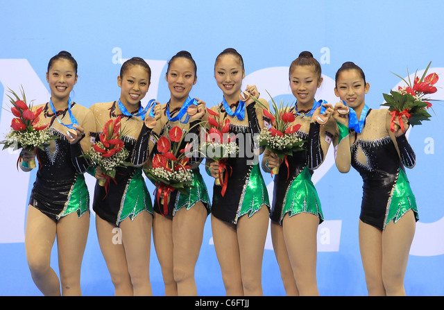 Rhythmic Gymnastics : Japan national team group line-up for The 26th Summer Universiade 2011 Shenzhen. - Stock Image