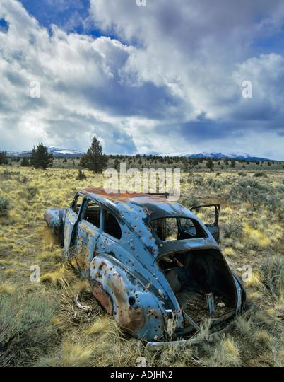 Abandoned old car near Burns Oregon - Stock Image