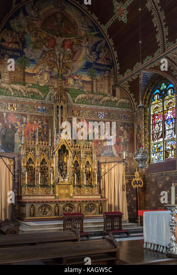 Interior of the 12th century Basilica of the Holy Blood - a Roman Catholic basilica in Burg square in the city of - Stock Image