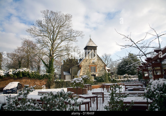 st george's tudor church in esher,surrey,england - Stock Image