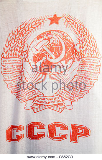 Russia Moscow t-shirt tee Russian Soviet Union symbol hammer and sickle - Stock Image