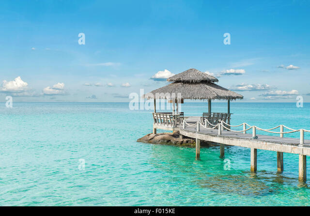 Summer, Travel, Vacation and Holiday concept - Wooden pier in Phuket, Thailand - Stock-Bilder