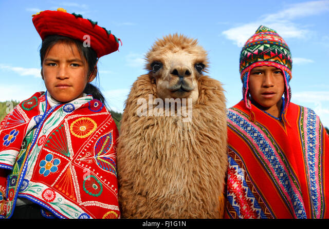 Portrait of peruvian children with their lama in Cuzco, Peru - Stock Image
