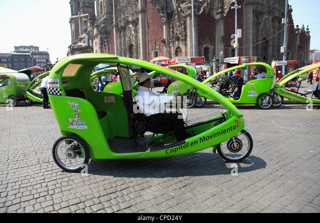 Eco friendly cycle rickshaw, Zocalo, Plaza de la Constitucion, Mexico City, Mexico, North America - Stock Image