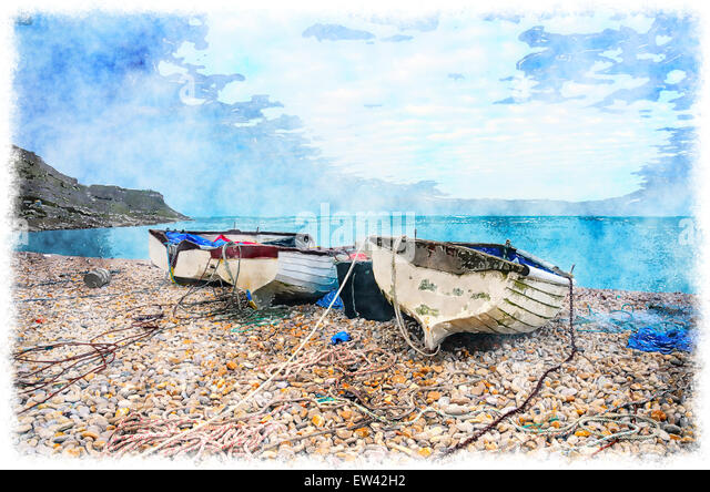 Watercolor beach painting stock photos watercolor beach for Head boat fishing near me