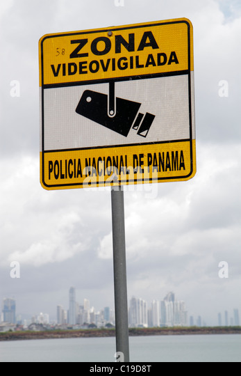 Panama Panama City Amador Bahia de Panama sign warning National Police video surveillance zone Spanish language - Stock Image