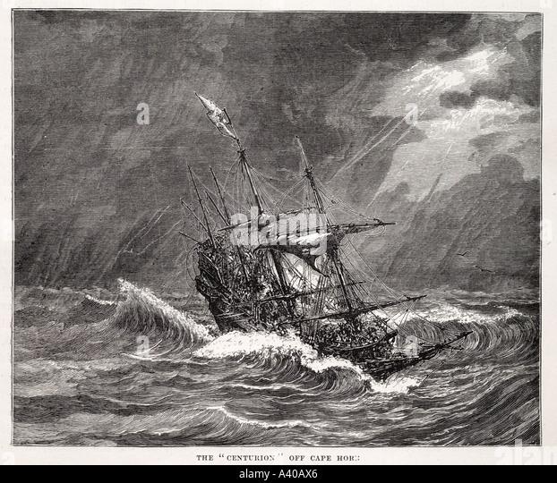 centurion off cape horn sail mast timber frigate boat ship navy marine maritime sea passenger cargo trade transport - Stock Image