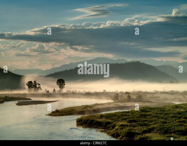 Morning Fog. Snake River. Buffalo Valley. near Moran.Wyoming. USA - Stock-Bilder