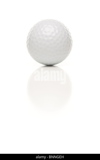 Single White Golf Ball Isolated on a White Reflective Background. - Stock Image